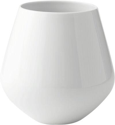 Hvid Riflet 20.5 cm. vase - stor