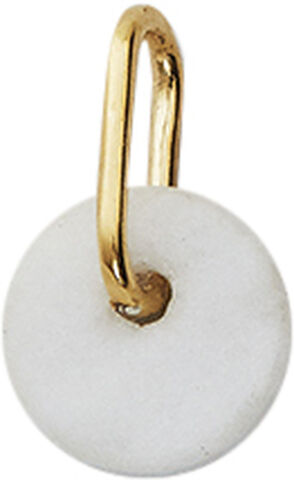WHITE MARBLE 6MM DISC W/GOLD BAIL