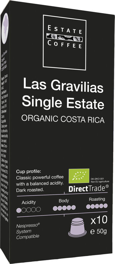 Estate kaffekapsler, Single Estate Las Gravilias, økologisk .10 stk