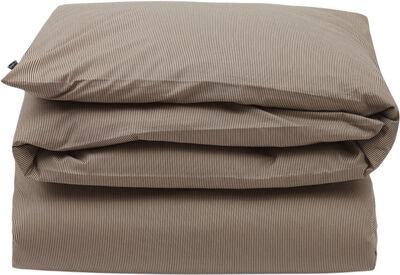 Beige/Dk Gray Striped Cotton Poplin Duvet Cover