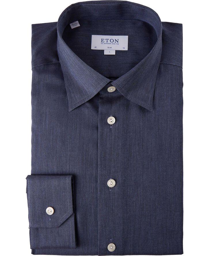 Dark Blue Herringbone Flannel Shirt Slim Fit
