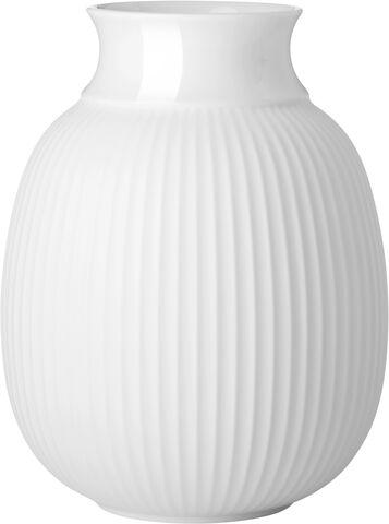Lyngby Curve Vase H17,5 hvid håndlavet porcelæn