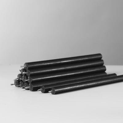 STOFF Nagel candles box w/12 pcs, black/sort