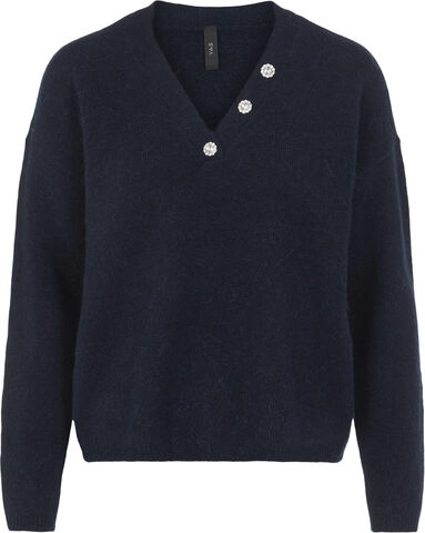 YASTALIS  BUTTON LS KNIT PULLOVER S