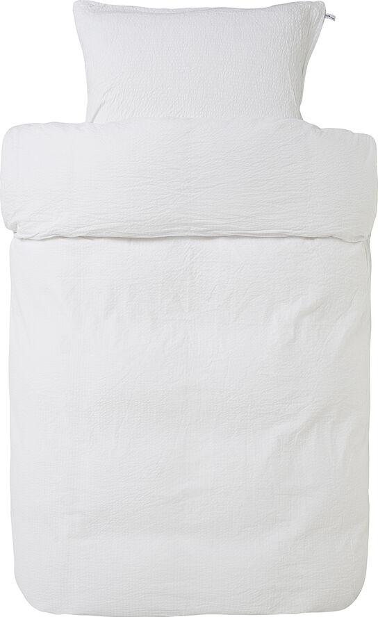 Pure 2-delt vævet Krepp baby sengesæt hvid