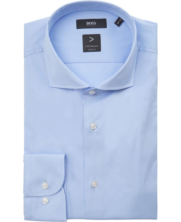 Slim-fit shirt in easy-iron cotton-blend poplin