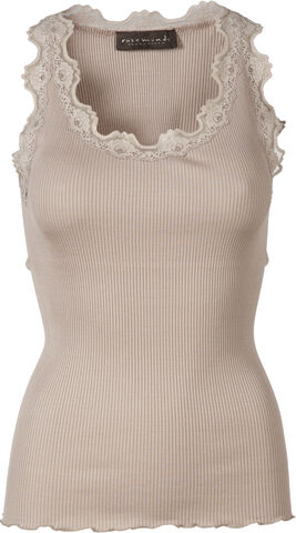 Silk top regular w/vintage lace