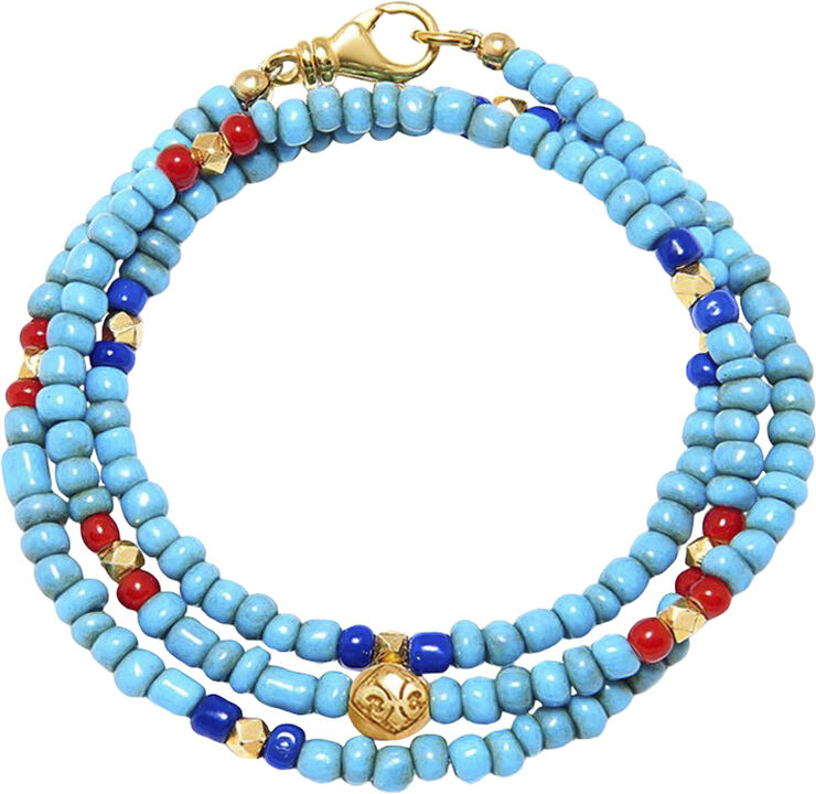 Men's Wrap-Around with Vintage Turquoise, Red and Blue Glass