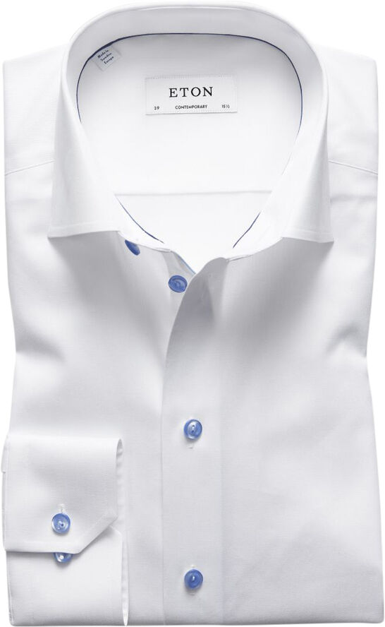 White Twill Shirt With Blue Details Contemporary fit