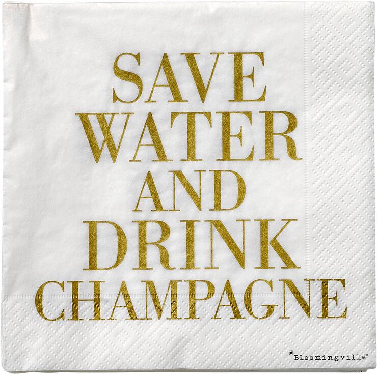 Serviet, 'Save water ...', Hvid m/Guld
