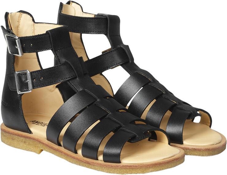 Sandal med spænder og lynlås