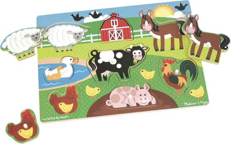 Wooden Peg Puzzle - Farm Animals