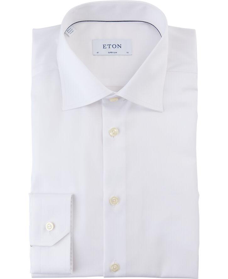 White Signature Twill Shirt - Super Slim Fit