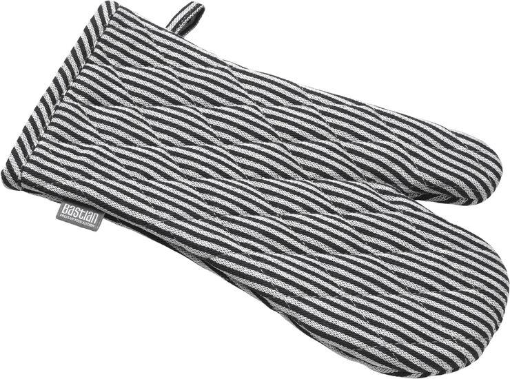 Jumbo grillhandske sort/natur strib