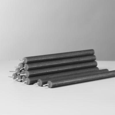 STOFF Nagel candles box w/12 pcs, anthracite/antracit