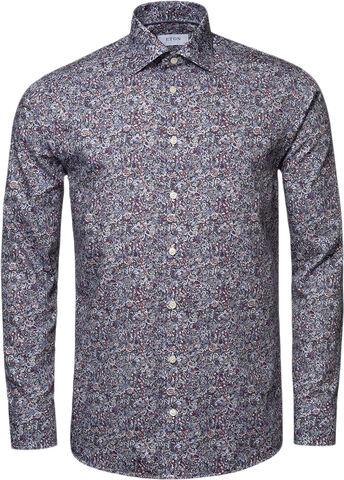 Red Scandinavian Paisley Print Shirt - Slim Fit