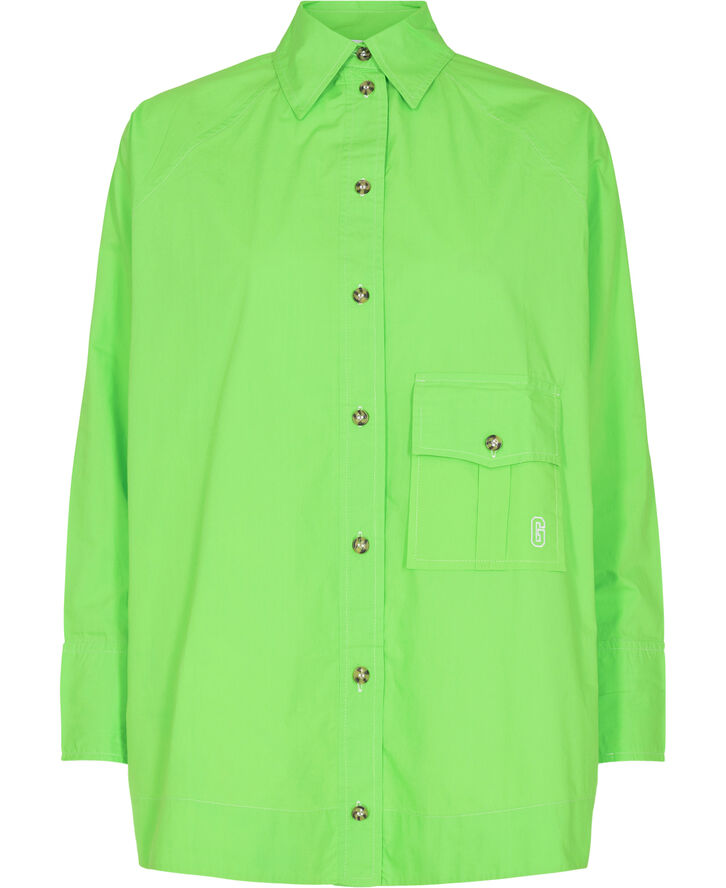 F6776 Cotton Poplin Raglan Sleeve Oversize Shirt