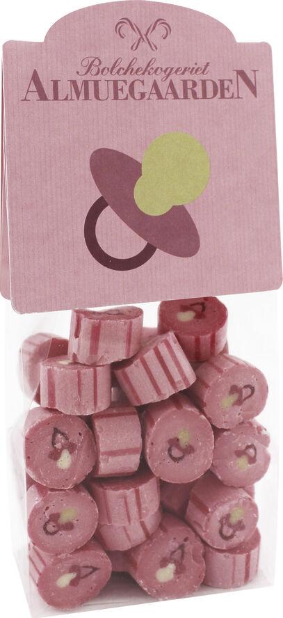 Lyserød sut med smag af hindbær