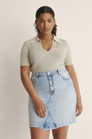 Raw Hem Denim Mini Skirt