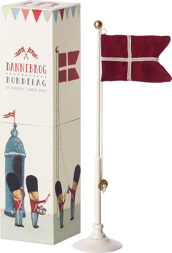 Danish flag, Metal flagpole  - 25,5 CM
